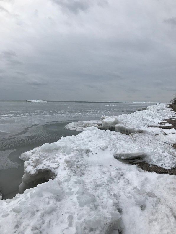Ice and open water on the east side